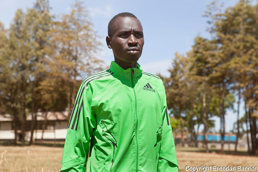 Emmanuel Mutai, winner of 2011 London Marathon, photographed after a workout on the  dirt track at Moi University in Eldoret, Kenya.