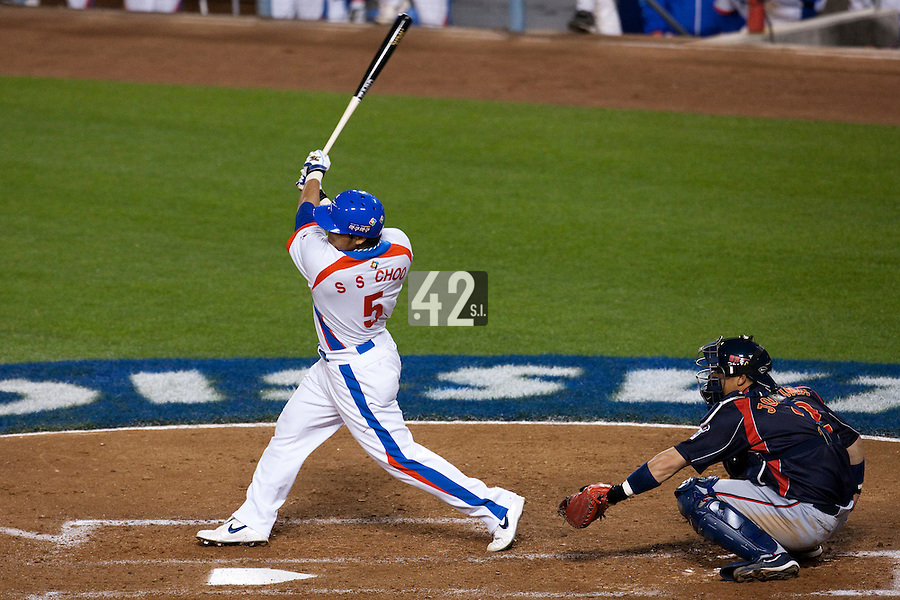 23 March 2009: #5 Shin Soo Choo of Korea hits a home run  during the 2009 World Baseball Classic final game at Dodger Stadium in Los Angeles, California, USA. Japan defeated Korea 5-3