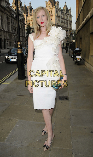 Jade Parfitt.The NSPCC Pop Art Ball, Banqqueting House, Whitehall, London, England..May 24th, 2012.full length white ruffle dress blue clutch bag.CAP/CAN.©Can Nguyen/Capital Pictures.