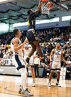 WASHINGTON, DC - FEBRUARY 22: Jared Kimbrough #24 of La Salle up high for a basket during a game between La Salle and George Washington at Charles E Smith Center on February 22, 2020 in Washington, DC.