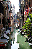 A canal with gondolas in Venice, Italy. October 2010. Images are available for editorial licensing, either directly or through Gallery Stock. Some images are available for commercial licensing. Please contact lisa@lisacorsonphotography.com for more information.