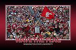 "Memorabilia print for ""Waving the Flag"" for Washington State Cougar Athletics, taken during the 2015 football season at Martin Stadium in Pullman, Washington, against the Wyoming Cowboys."