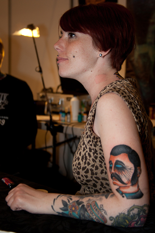 Copenhagen Inkfestival 2012. Portrait tattoo on arm.