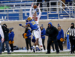BROOKINGS, SD - NOVEMBER 17: Marshon Harris #18 from South Dakota State University breaks up a pass intended for Levi Falck #88 from the University of South Dakota during their game Saturday afternoon at Dana J. Dykhouse Stadium in Brookings, SD. (Photo by Dave Eggen/Inertia)