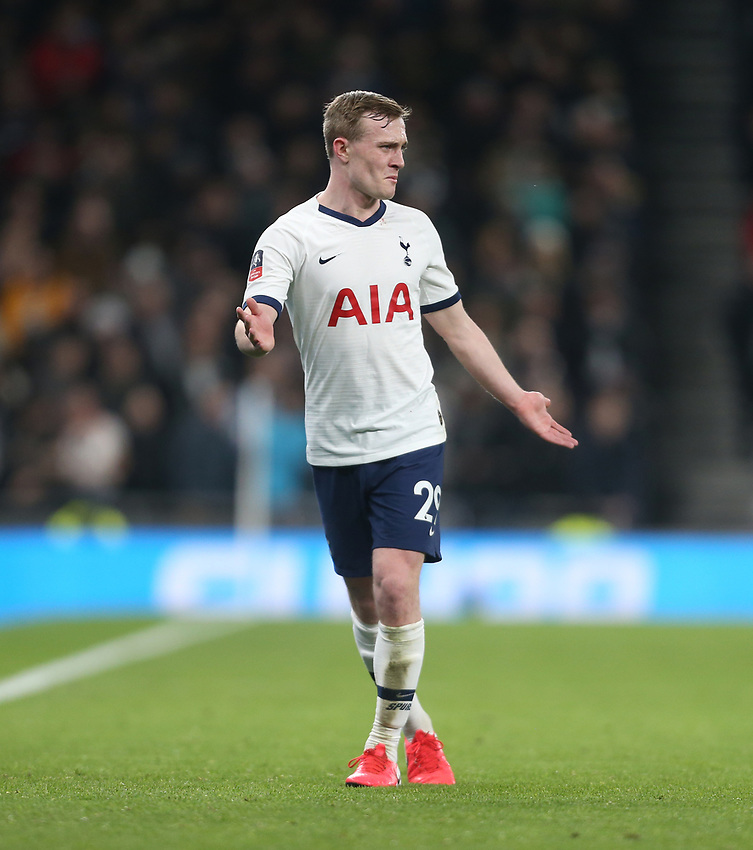 Tottenham Hotspur's Oliver Skipp<br /> <br /> Photographer Rob Newell/CameraSport<br /> <br /> The Emirates FA Cup Fifth Round - Tottenham Hotspur v Norwich City - Wednesday 4th March 2020 - Tottenham Hotspur Stadium - London<br />  <br /> World Copyright © 2020 CameraSport. All rights reserved. 43 Linden Ave. Countesthorpe. Leicester. England. LE8 5PG - Tel: +44 (0) 116 277 4147 - admin@camerasport.com - www.camerasport.com