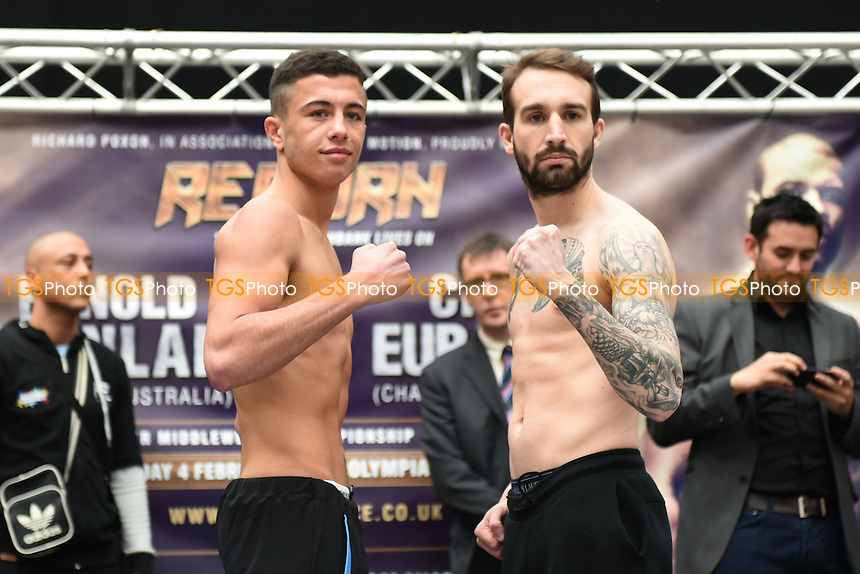 Boxers Lucas Ballingall (L) and Harvey Hemsley during a Poxon Sports Weigh-In at Westfield Shopping Centre on 3rd February 2017