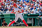 20 May 2018: Washington Nationals infielder Wilmer Difo singles in the 3rd inning to get Washington's first hit of the game against the Los Angeles Dodgers at Nationals Park in Washington, DC. The Dodgers defeated the Nationals 7-2, sweeping their 3-game series. Mandatory Credit: Ed Wolfstein Photo *** RAW (NEF) Image File Available ***