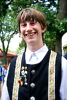 Happy teen age 16 wearing traditional outfit. Svenskarnas Dag Swedish Heritage Day Minnehaha Park Minneapolis Minnesota USA
