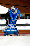 19 November 2005: John-Andrew Kambanis pilots the Greece 1 sled to a 37th place finish at the 2005 FIBT AIT World Cup Men's 2-Man Bobsleigh Tour at the Verizon Sports Complex, in Lake Placid, NY. Mandatory Photo Credit: Ed Wolfstein.