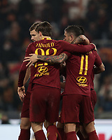 Football, Serie A: AS Roma - Bologna FC, Olympic stadium, Rome, February 18, 2019. <br /> Roma&rsquo;s Aleksandar Kolarov (r) celebrates after scoring with his teammates during the Italian Serie A football match between AS Roma and Bologna FC at Olympic stadium in Rome, on February 18, 2019.<br /> UPDATE IMAGES PRESS/Isabella Bonotto