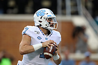 WINSTON-SALEM, NC - SEPTEMBER 13: Sam Howell #7 of the University of North Carolina drops back to pass during a game between University of North Carolina and Wake Forest University at BB
