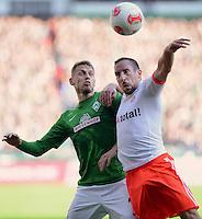 FUSSBALL   1. BUNDESLIGA  SAISON 2012/2013   6. Spieltag   SV Werder Bremen - FC Bayern Muenchen          29.09.2012 Aaron Hunt (li, SV Werder Bremen) gegen Franck Ribery (re, FC Bayern Muenchen)