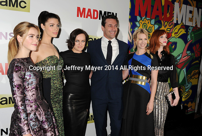 HOLLYWOOD, CA- APRIL 02: (L-R) Actors Kiernan Shipka, Jessica Pare, Elisabeth Moss, Jon Hamm, January Jones and Christina Hendricks arrive at AMC's 'Mad Men' Season 7 premiere at ArcLight Cinemas on April 2, 2014 in Hollywood, California.