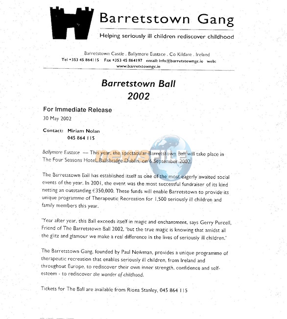 Barretstown Gang Press Release..Pic Newsfile