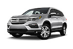 Stock pictures of low aggressive front three quarter view of 2018 Honda Pilot EX-L 5 Door Suv Low Aggressive
