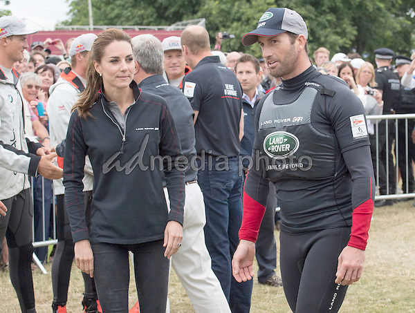 24 July 2016 - Princess Kate Duchess of Cambridge with Sir Ben Ainslie meets members of the Sweden team at the America's Cup World Series Race in Portsmouth. The royal couple visited the home of the British competitors for the America's Cup before observing the ongoing competition. Photo Credit: ALPR/AdMedia