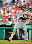 24 May 2009: Baltimore Orioles' right fielder Nick Markakis in action against the Washington Nationals at Nationals Park in Washington, DC. The Nationals rallied to defeat the Orioles 8-5 and salvage a win in their interleague series. Mandatory Credit: Ed Wolfstein Photo