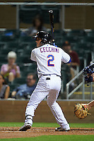 Salt River Rafters shortstop Gavin Cecchini (2) at bat during an Arizona Fall League game against the Scottsdale Scorpions on October 13, 2015 at Salt River Fields at Talking Stick in Scottsdale, Arizona.  Salt River defeated Scottsdale 5-3.  (Mike Janes/Four Seam Images)