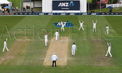 14.12.2015. Dunedin, New Zealand.  Tim Southee appeals successfully for the wicket of Vithanage during play on day 5 of the 1st cricket test match between New Zealand Black Caps and Sri Lanka at University Oval, Dunedin, New Zealand. Monday 14 December 2015.