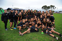 The Hamilton GHS team pose for a group photo after the New Zealand Secondary Schools Girls Top 4 rugby semfinal between Hamilton Girls' High School (black maroon and gold) and Southern Cross Campus College (black and teal) at Arena Manawatu, Palmerston North, New Zealand on Friday, 4 September 2015. Photo: Dave Lintott / lintottphoto.co.nz