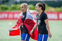 Boston, MA - Saturday July 01, 2017: Adriana Leon and Tiffany Weimer during a regular season National Women's Soccer League (NWSL) match between the Boston Breakers and the Washington Spirit at Jordan Field.