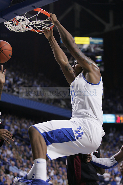 Freshman forward DeMarcus Cousins dunks the ball during the first half of the game against the Gamecocks at Rupp Arena on Thursday. Photo by Zach Brake | Staff.