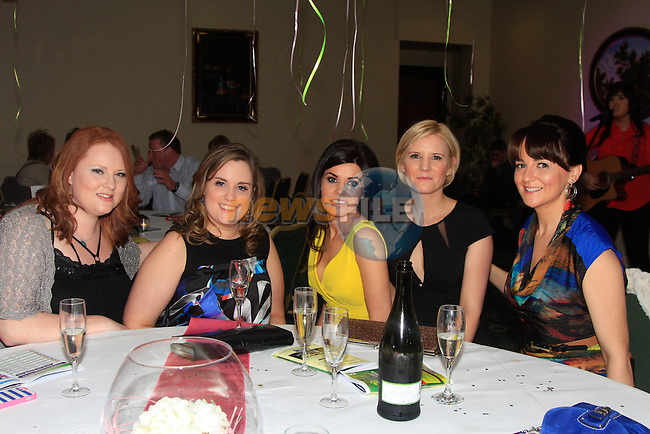 Sin&eacute;ad Boschell, Maebh Gogarty, Marie Walsh, Dorothy and Louise McDarby during the Race night for Drogheda Hospice organised by the Louth Cancer Fundraising Group in the Boyne Valley Hotel on Saturday 22nd February 2014.<br /> Picture:  Thos Caffrey / www.newsfile.ie