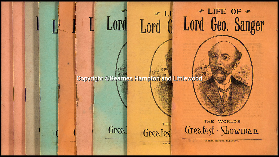 BNPS.co.uk (01202 558833)<br /> Pic: BearnesHampton&Littlewood/BNPS<br /> <br /> 'Lord George' 'The Worlds Greatest Showman' even brought out an autobiography of his life.<br /> <br /> A fascinating archive of photographs and documents relating to Britain's 'Greatest Showman' has emerged for sale.<br /> <br /> Lord George Sanger established one of the very first circus shows in Victorian times and was the British equivalent of P.T Barnum, the subject of the hit musical movie The Greatest Showman.<br /> <br /> Now an archive that includes black and white photos of crowds of people gathered outside a huge circus tent in Margate as well one of five elephants lined up outside the same venue is available for sale at auction in Devon.