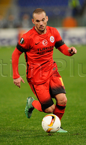 25.02.2016. Stadio Olimpico, Rome, Italy. Uefa Europa League, Return leg of SS Lazio versus Galatasaray. Wesley Sneijder in action