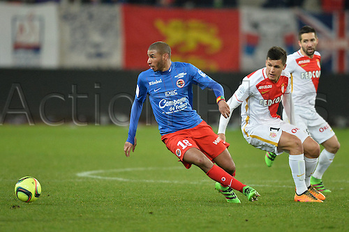 04.03.2016. Caen, France. French League 1 football. Caen versus Monaco.  GUIDO CARRILLO (mon) is turned by Jordan ADEOTI (caen)