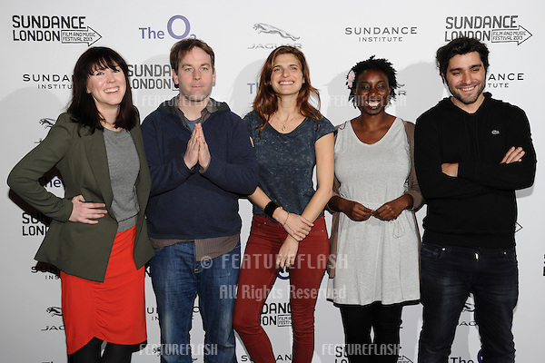 Alice Lowe, Mike Birbiglia, Lake Bell, Destiny Ekaraghia and Jordan Vogt-Roberts arriving for the Senses of Humor panel event as part of the Sundance London Festival 2013 at the O2, Greenwich, London.27/04/2013 Picture by: Steve Vas / Featureflash
