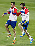 Spain's Mario Gaspar (l) and Nacho Fernandez during training session. March 21,2016. (ALTERPHOTOS/Acero)