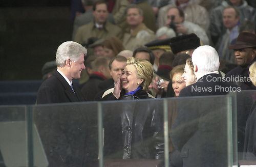 Former United States President Bill Clinton and U.S. Senator Hillary Rodham Clinton (Democrat of New York) at the Inauguration at the U.S. Capitol in Washington, D.C. on January 20, 2001..Credit: David N. Berkowitz for Newsweek - Pool via CNP.
