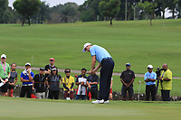 Ross Fisher (Europe) on the 17th green during the Saturday Foursomes of the Eurasia Cup at Glenmarie Golf and Country Club on the 13th January 2018.<br /> Picture:  Thos Caffrey / www.golffile.ie