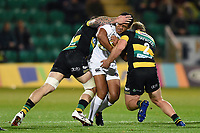 Ben Tapuai of Bath Rugby is double-tackled. Aviva Premiership match, between Northampton Saints and Bath Rugby on September 15, 2017 at Franklin's Gardens in Northampton, England. Photo by: Patrick Khachfe / Onside Images