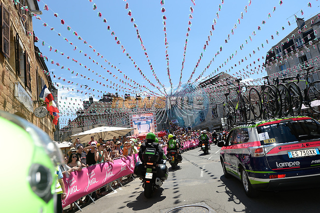Bunting abounds during Stage 11 of the 2014 Tour de France running 187.5km from Besancon to Oyonnax. 16th July 2014.<br /> Photo ASO/B.Bade/www.newsfile.ie