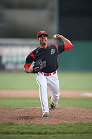 Batavia Muckdogs relief pitcher Nestor Bautista (39) delivers a warmup pitch during a game against the West Virginia Black Bears on June 25, 2017 at Dwyer Stadium in Batavia, New York.  Batavia defeated West Virginia 4-1 in nine innings of a scheduled seven inning game.  (Mike Janes/Four Seam Images)