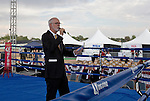 "Ring Announcer ""Big"" Jim Hall during the Rural Rumble on Friday night, August 8, 2014 at Churchill County Fairgrounds in Fallon, Nevada."