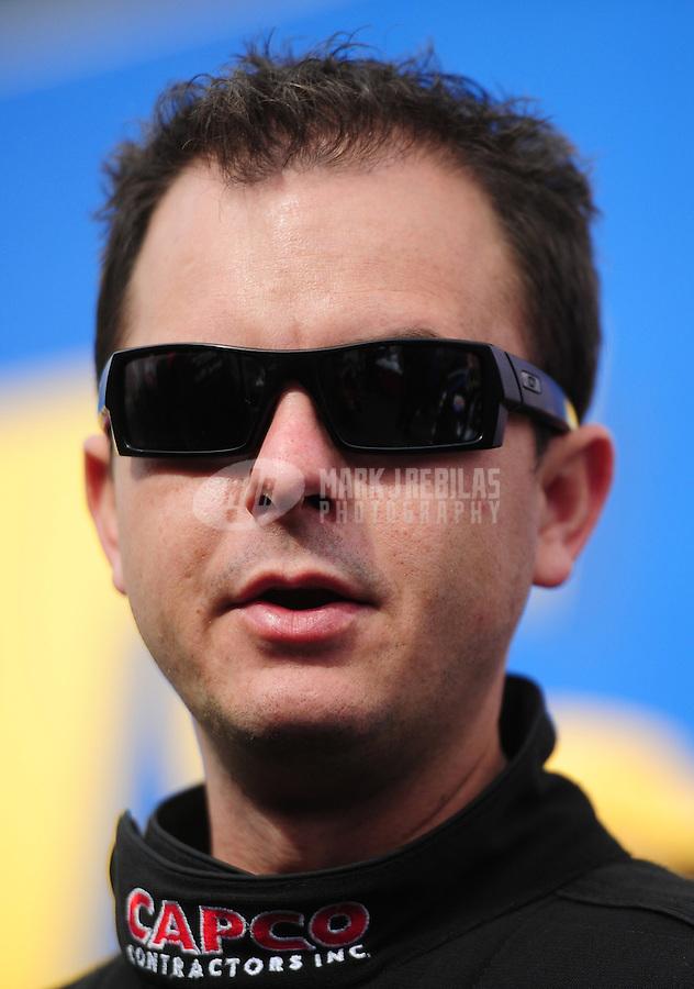 Feb. 19, 2012; Chandler, AZ, USA; NHRA top fuel dragster driver Steve Torrence during the Arizona Nationals at Firebird International Raceway. Mandatory Credit: Mark J. Rebilas-