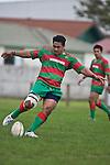 Sosefo Kata takes the 22 kickoff. Counties Manukau Premier rugby game between Waiuku & Ardmore Marist played at Waiuku on Saturday May 10th 2008..Ardmore Marist won 27 - 6 after leading 10 - 6 at halftime.
