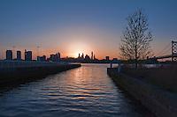 city, cityscape, downtown, Penn's, landing,  philadelphia, PA. Delaware, river, scenic, sky, skyline, Ben Franklin Bridge, Sunset, Twilight, skyscraper, urban, waterfront Phila, Philly, PA
