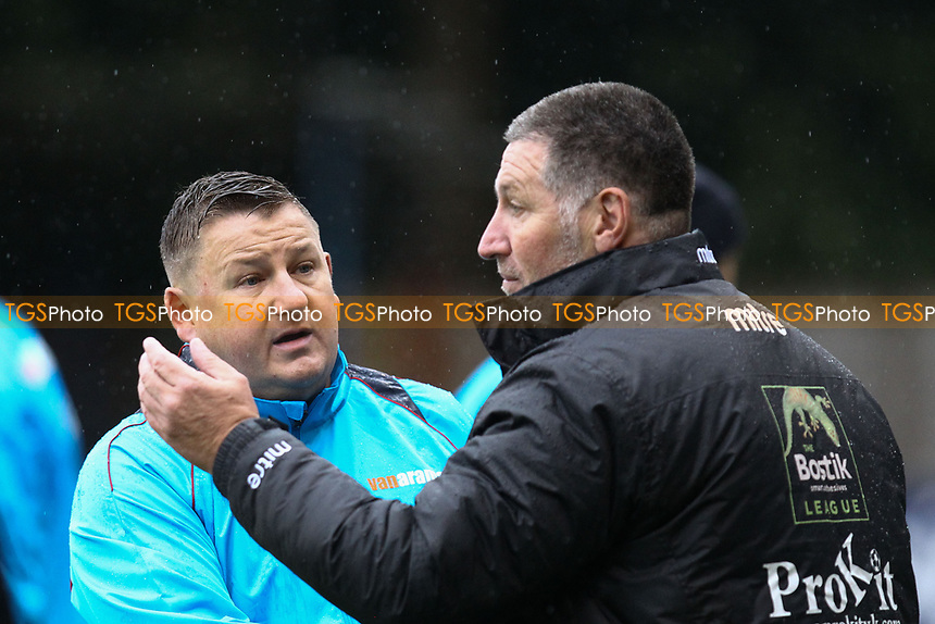 Hampton & Richmond manger Gary McCann and AFC Hornchurch manager Jimmy McFarlane during Hampton & Richmond Borough vs AFC Hornchurch, Emirates FA Cup Football at the Beveree Stadium on 6th October 2018