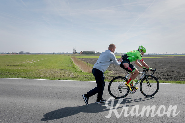DS Andreas Klier pushhes crashed rider  Wouter Wippert (NED/Cannondale-Drapac) back on the road<br /> <br /> 79th Gent-Wevelgem 2017 (1.UWT)<br /> 1day race: Deinze &rsaquo; Wevelgem - BEL (249km)