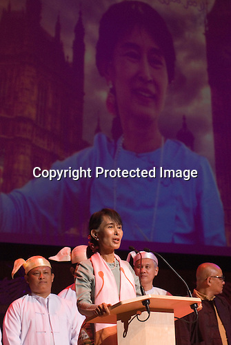 Daw Aung San Suu Kyi. Meeting with the people of Burma at the Royal Festival Hall London UK 22 June 2012.