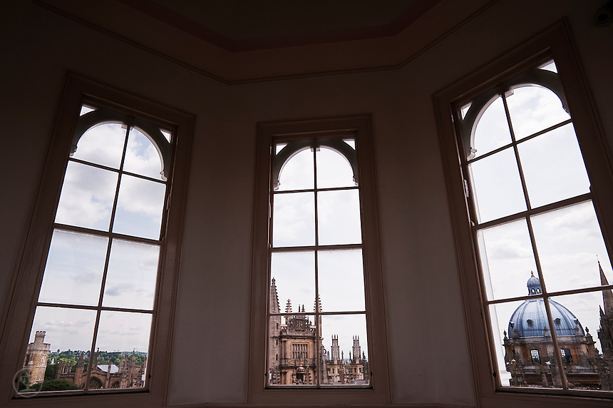 "Oxford's famous ""dreaming spires"" seen from inside the Sheldonian Theatre."