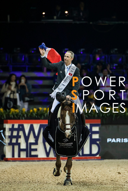 Patrice Delaveau of France riding Aquila HDC celebrates winning the Longines Grand Prix during the Longines Masters of Hong Kong at AsiaWorld-Expo on 11 February 2018, in Hong Kong, Hong Kong. Photo by Ian Walton / Power Sport Images