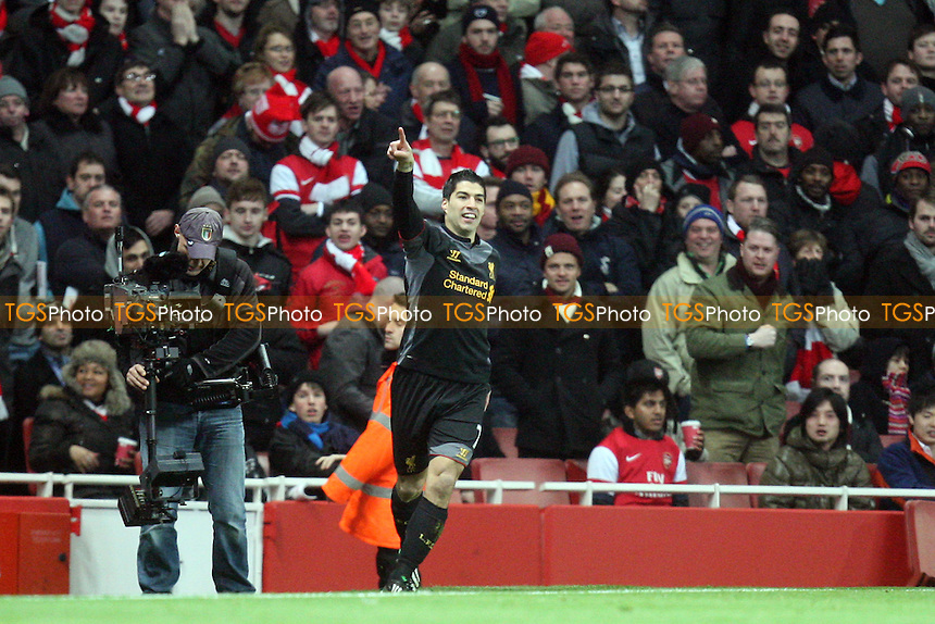 Luis Suarez of Liverpool celebrates scoring the opening goal - Arsenal vs Liverpool at the Emirates Stadium - 30/01/13 - MANDATORY CREDIT: Dave Simpson/TGSPHOTO - Self billing applies where appropriate - 0845 094 6026 - contact@tgsphoto.co.uk - NO UNPAID USE.