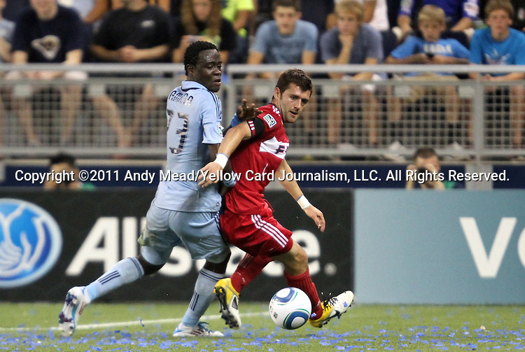 09 June 2011: Kansas City's Kei Kamara (SLE) (23) and Chicago's Gonzalo Segares (CRC) (right). Sporting Kansas City played the Chicago Fire to a 0-0 tie in the inaugural game at LIVESTRONG Sporting Park in Kansas City, Kansas in a 2011 regular season Major League Soccer game.