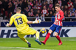 Atletico de Madrid Kevin Gameiro and Real Madrid Kiko Casilla during La Liga match between Atletico de Madrid and Real Madrid at Wanda Metropolitano in Madrid, Spain. November 18, 2017. (ALTERPHOTOS/Borja B.Hojas)