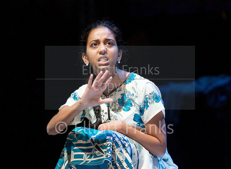 BEHIND THE BEAUTIFUL FOREVERS<br /> by David Hare<br /> Based on the book by Katherine Boo<br /> at the Olivier Theatre, NT, Southbank, London, Great Britain <br /> Press photocall <br /> 17th November 2014 <br /> Directed by  Rufus Norris<br /> <br /> <br /> Anjana Vasan<br /> <br /> <br /> Photograph by Elliott Franks <br /> Image licensed to Elliott Franks Photography Services